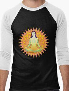 Young woman practicing meditation 1 Men's Baseball ¾ T-Shirt