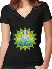 Young woman practicing meditation 4 Women's Fitted V-Neck T-Shirt