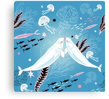 narwhal whale lovers Canvas Print