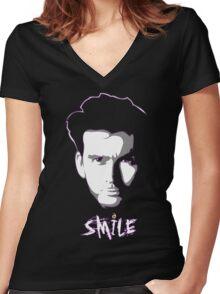 Kilgrave: Smile (white on dark colors) Women's Fitted V-Neck T-Shirt