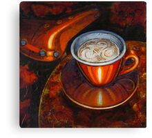 Still life with bicycle saddle Canvas Print