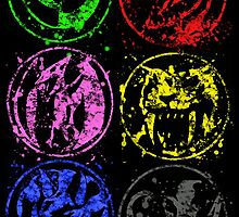 Morphin Rangers digital splatters COMPLETE by justin13art