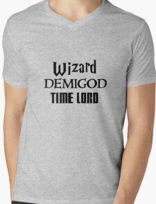 Fandoms: Wizard, Demigod, Time Lord Mens V-Neck T-Shirt