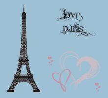 Eiffel Tower, Hearts, Polka Dots - Black Pink Blue  Kids Tee