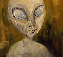Original Oil Painting 'Portrait of a Grey Alien' - Nicky Gossling by NickyGossling