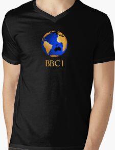 BBC computer originated world (globe) COW logo Mens V-Neck T-Shirt