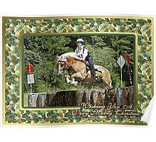 Haflinger Horse Eventing Christmas Card Poster