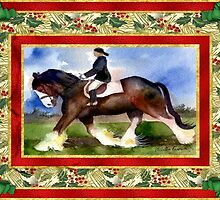 Clydesdale Draft Horse Christmas Card by Oldetimemercan