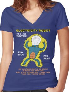 Electricity Robot -- he's all electric -- color Women's Fitted V-Neck T-Shirt