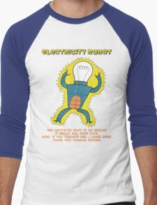 Electricity Robot -- he's all electric -- color Men's Baseball ¾ T-Shirt