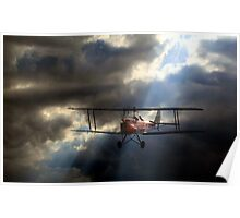 Tiger Moth in a stormy sky Poster