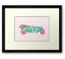 Christmas Teddy Car Framed Print