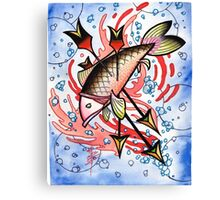 bloody koi with arrows Canvas Print