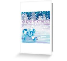 Slippery - Rondy the Elephant on ice Greeting Card