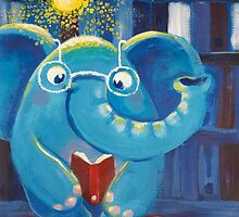 Reading- Rondy the Elephant with an iteresting book by oksancia