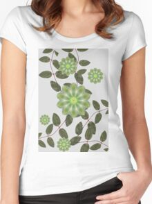Leaves and mandala flower. Women's Fitted Scoop T-Shirt