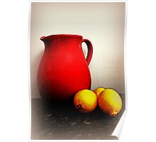 Jug And Lemons On A kitchen Bench Poster
