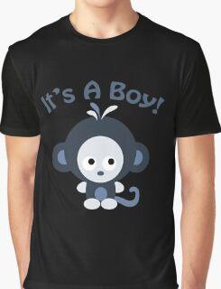 It's a Boy Cute Baby Blue Monkey Graphic T-Shirt
