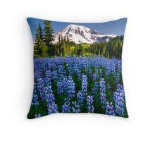 Rainier Wears Blue Throw Pillow