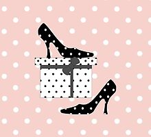 High Heel Shoes, Polka Dots, Gift Box - Black White by sitnica