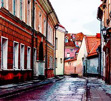 Old Town Street After Rain 1 by Yevgeni Kacnelson