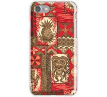Pomaika'i Tiki Hawaiian Vintage Tapa - Red & Brown iPhone Case/Skin