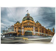 Rush Hour at Flinders Station Poster