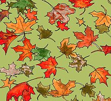 Hand drawn fall leaves pattern by CClaesonDesign