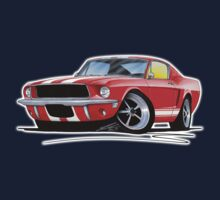 Ford Mustang (1967) Red (White Stripes) One Piece - Short Sleeve