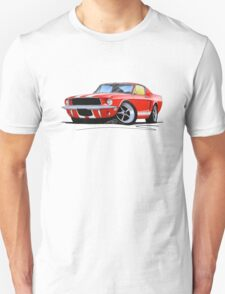 Ford Mustang (1967) Red (White Stripes) Unisex T-Shirt