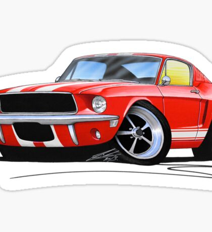 Ford Mustang (1967) Red (White Stripes) Sticker