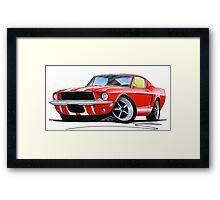 Ford Mustang (1967) Red (White Stripes) Framed Print