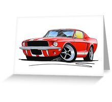Ford Mustang (1967) Red (White Stripes) Greeting Card
