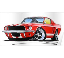 Ford Mustang (1967) Red (White Stripes) Poster