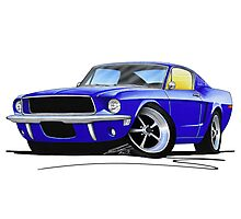Ford Mustang (1967) Blue Photographic Print