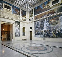 The Rivera Court with the Detroit Industry fresco cycle by Bridgeman Art Library