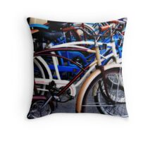 Pedaling in Vintage Time Throw Pillow
