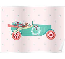 Birthday Teddy Car Poster