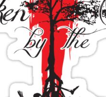 Broken by the Fall blk and red tree design Sticker