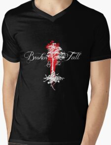 Broken by the Fall white and red tree design Mens V-Neck T-Shirt