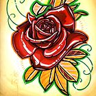 red, red rose tattoo by resonanteye
