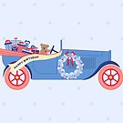 Birthday Teddy car in Blue by Corinna Djaferis