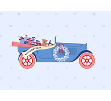 Birthday Teddy car in Blue Photographic Print