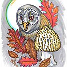 owl with morels and moon by resonanteye