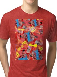 Dominos Abstract with Red Tri-blend T-Shirt