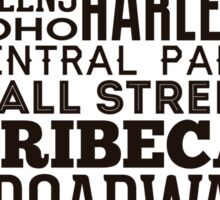Typographic Streets of New York Sticker