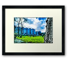 East London Greenery and Blue Buildings, UK Framed Print