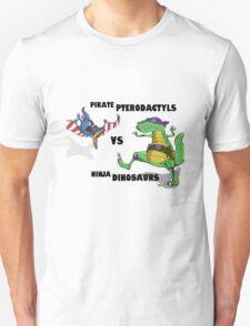 Pirate Pterodactyls vs Ninja Dinosaurs Unisex T-Shirt
