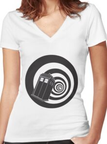 Doctor Who - TARDIS Mod Vortex Time Tunnel Women's Fitted V-Neck T-Shirt