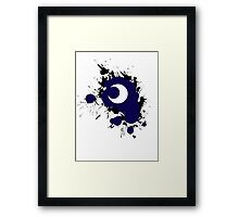 Lunar Splat (black paint, white background) Framed Print